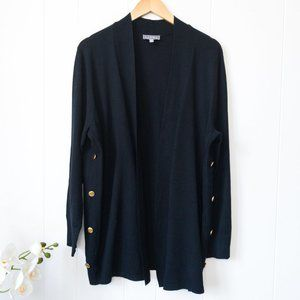 Laura Long Cardigan with Gold Button Detail